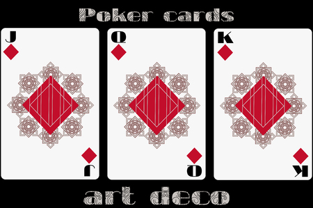 standard size: Poker playing card. Jack diamond. Queen diamond. King diamond. Poker cards in the art deco style. Standard size card.