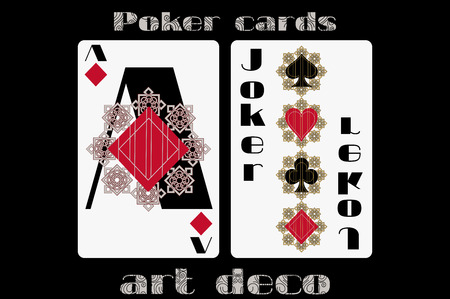 trump: Poker playing card. Ace diamond. Joker. Poker cards in the art deco style. Standard size card. Illustration