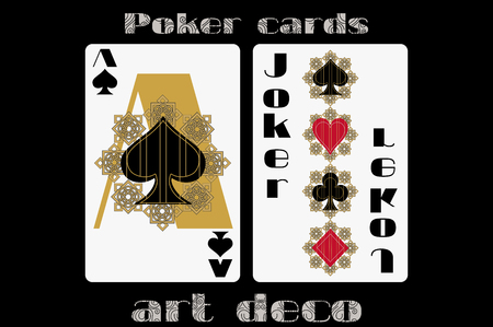 ace of spades: Poker playing card. Ace spade. Joker. Poker cards in the art deco style. Standard size card. Illustration