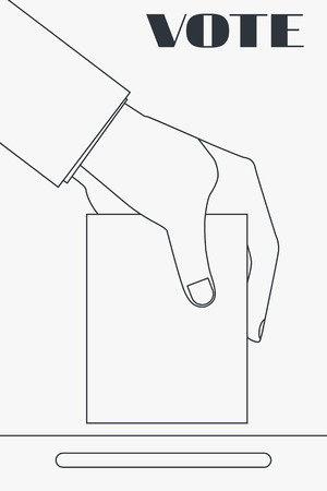designate: Hand holding a ballot in the election. Line drawing. Elections. Vector.