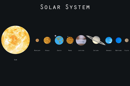 The planets of the solar system. Vector illustration. Vettoriali