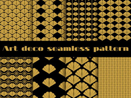 Seamless pattern in art deco style. Set vector backgrounds. Vector Illustration