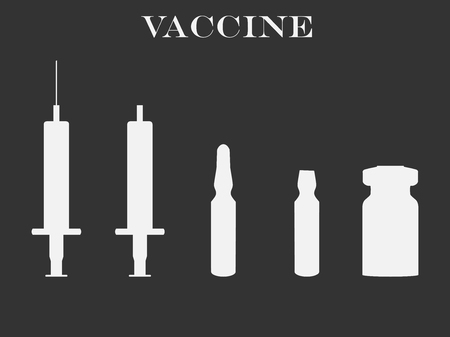 syringe inoculation: Syringe and vials. Syringe and ampules. Vaccine. Set icons in line style. Vector. Illustration