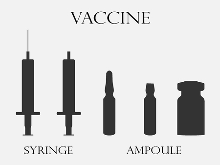 vials: Syringe and vials. Syringe and ampules. Vaccine. Set icons in line style. Vector. Illustration