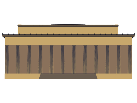 background house: Building with columns. Vector illustration.