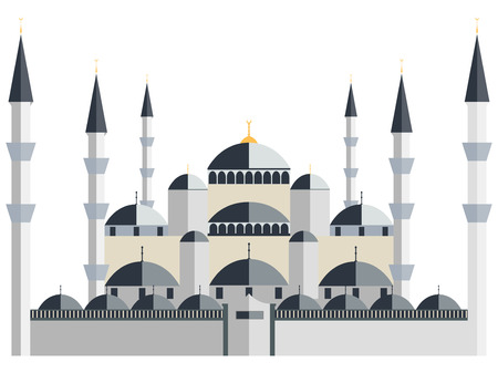 Mosque. Blue Mosque. Vector illustration.