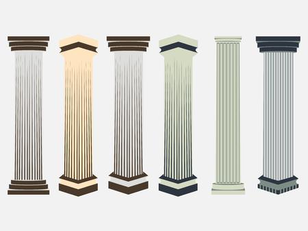 ionic: Column. Doric, Roman style. Set of columns. Vector illustration.