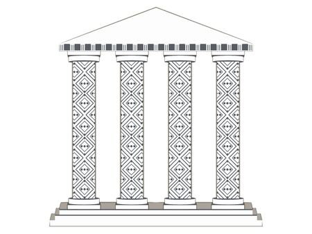 doric: Building with columns. Paper building. Column. Doric, Roman style. Vector illustration.