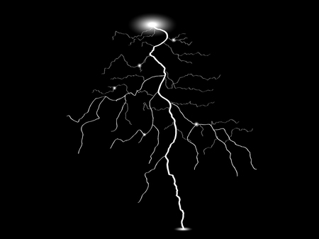dazzle: Vector realistic lightning. Thunderstorm and lightning. Magic and bright lighting effects. Vector.