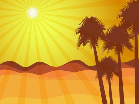 arizona sunset: Sunrise in the desert with palm tree. Illustration