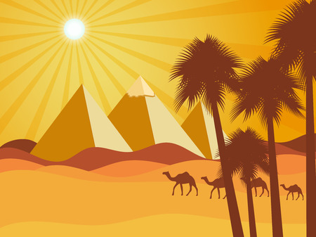 menkaure: Egyptian pyramids in the desert. Camels in the desert. Vector background. Illustration. Illustration
