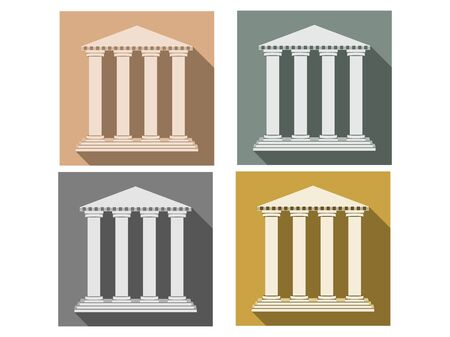 column: Building with columns. Set of icons in a flat style. Column. Doric, Roman style. Vector illustration.