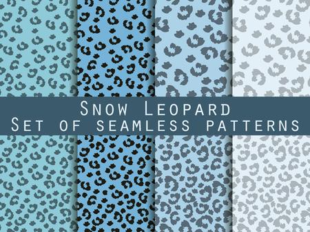 snow leopard: Leopard skin seamless pattern. Set snow leopard pattern. Vector. Illustration