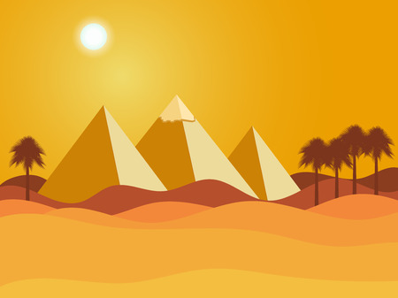 yellow adventure: Egyptian pyramids. Sun over the pyramids. Desert. Vector illustration.