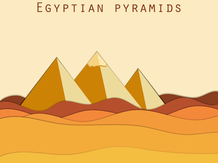 menkaure: Landscape with the Egyptian pyramids. Paper Desert. Vector illustration.