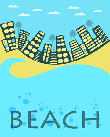 beach panorama: City landscape. City beach. Vector banner. Illustration. Illustration