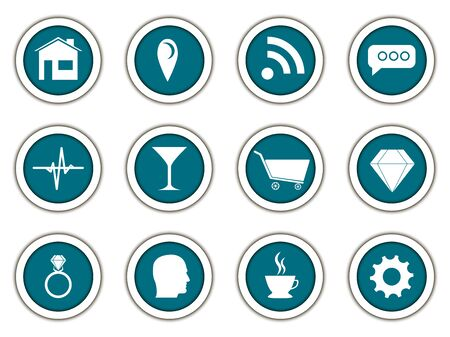 3d icons: Set of round icons. Paper round. 3d icons. Vector.