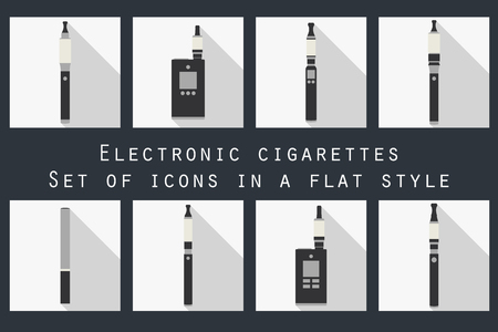 vaporized: Electronic cigarette. Electronic cigarette flat icons. Types vaporizers. Set. Illustration
