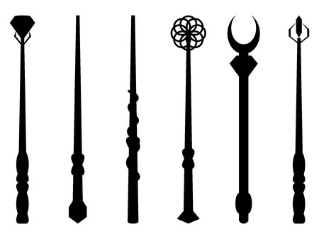 thaumaturge: Magic wands. Magic and magical objects. Chery silhouette on a white background. Wizard tool. Vector illustration.