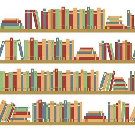 bibliography: Seamless books, seamless pattern with books, library bookshelf, library, bookstore, books on a shelves in library, flat books, seamless pattern book shelf with books