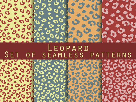 leopard print: Leopard skin seamless pattern. Set leopard print. Vector.