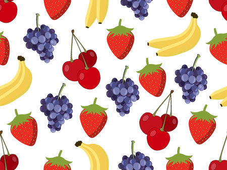 red grape: Set of seamless pattern with fruit. Pattern of bananas, cherries, strawberries and grapes. Vector background.