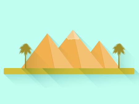 egyptian pyramids: Egyptian pyramids. Flat pyramids. Landscape with the Egyptian pyramids. Vector illustration. Illustration