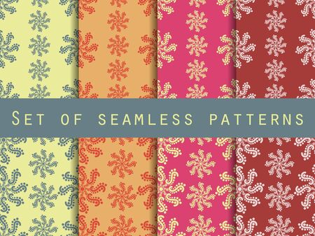 pastel shades: Set seamless patterns. Pastel shades. The pattern for wallpaper, bed linen, tiles, fabrics, backgrounds. Vector illustration.