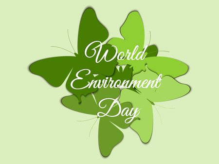 green environment: World Environment Day, Butterflies on the background of beautiful lettering with shadow, environment day, environment,  go green. Vector.