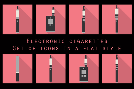tobacco product: Electronic cigarette, electronic cigarette flat icons, e-cigarette icons, types vaporizers, smoking electronic cigarette, set. Illustration