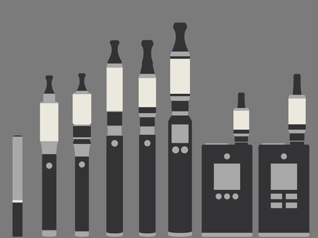 vaporized: Electronic cigarette. Types vaporizers. Set.