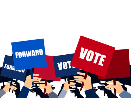 elect: Election campaign, election vote, election poster, holding posters, election banner, supporting team, voters support, people with placards. Vector.