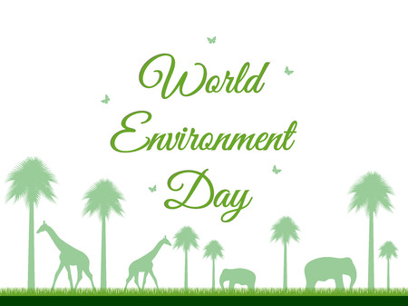 reserve: World Environment Day, reserve, Landscape with animals, environment day, environment,  go green. Vector.