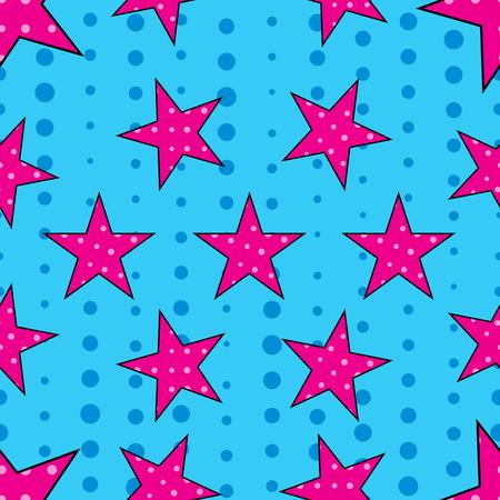 Stars in pop art style, seamless pattern. Vector.