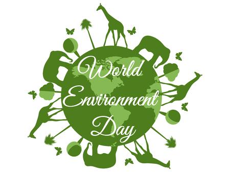 世界环境日,地球与动物,环境日,环境,绿色。向量。