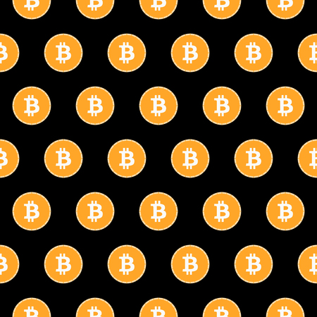 monetary: Bitcoin seamless pattern. Monetary system. Vector.