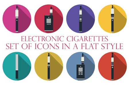 vaporized: Electronic cigarette. Electronic cigarette flat icons. Types vaporizers. Set of round icons.