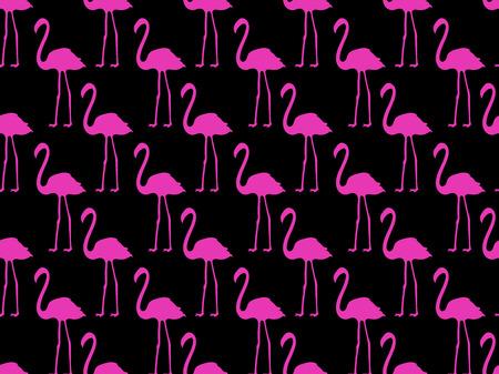 Seamless pattern with pink flamingos, seamless flamingo, bird pattern. Vector.