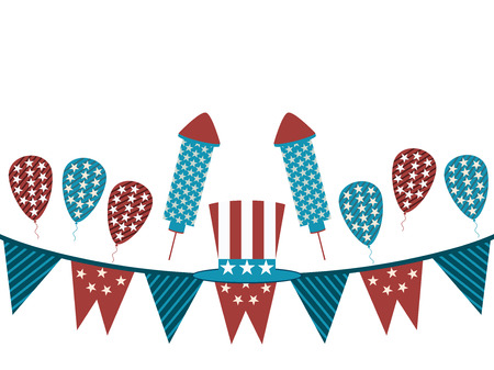 fourth birthday: Background with garland and fireworks. Uncle Sam hat and garland on a white background, holiday items. Vector illustration.
