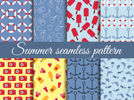 Seamless summer pattern. Summer seamless background. Summer pattern with fruit and summer objects.