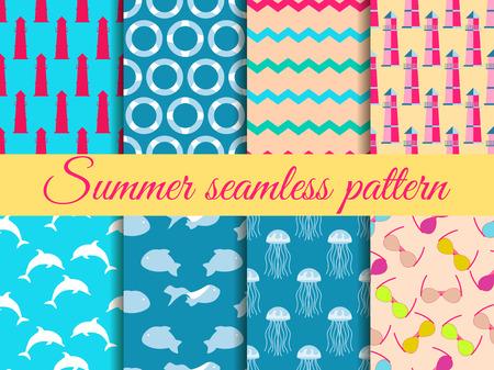 夏天无缝模式。图案上有灯塔、海洋动物。一组无缝模式,矢量。