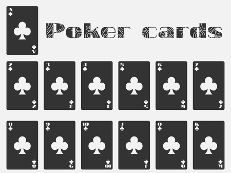cards deck: Poker cards, deck of cards, cards club suit. Isolated playing card.