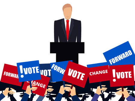 election debate: Candidate of party involved in debate. Presidential candidate. Election campaign. Speech from the rostrum. Illustration