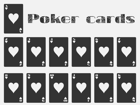 cards deck: Poker cards, deck of cards, cards hearts suit. Isolated playing card.