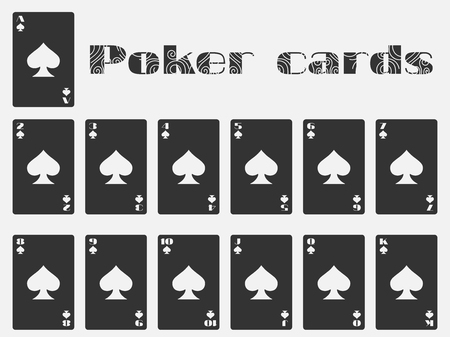 cards deck: Poker cards, deck of cards, cards spades suit. Isolated playing card.