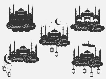 minaret: Ramadan Kareem, blue mosque, minaret, lantern and moon, muslim holiday lights. Set isolation banners, logos. Vector.