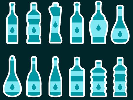 different shapes: Bottle. Set of bottles of different shapes. Vector illustration.