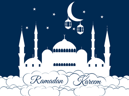 minaret: Mosque in the clouds. Ramadan Kareem, blue mosque, minaret, lantern and moon, muslim holiday lights.