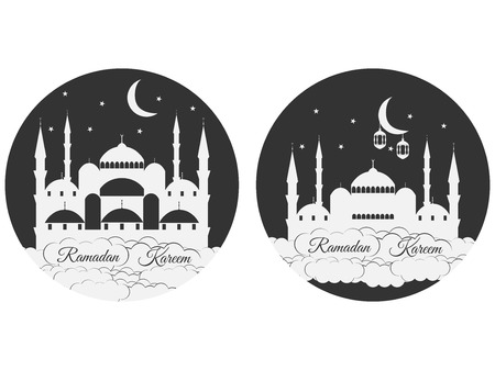 minaret: Emblems for islamic holiday Ramadan. Ramadan Kareem, blue mosque, minaret, lantern and moon, muslim holiday lights. Set isolation banners and logos. Illustration