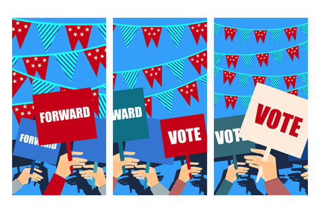 supporting: Election campaign, election vote, election poster, holding posters, election banner, supporting team, voters support, people with placards. Vector.